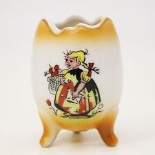 Vtg Enesco Japan Cartoon Comic Girl with Basket Letter White Gold Egg Tulip Vase