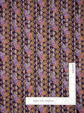 Kings Road Harmony Asian Fan Floral Dark Puprle Cotton Fabric 1 Yard 29 Inches