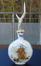 Ältere grosse Schnupftabakflasche - Dose aus Porzellan mit Hornverschluss Nr.101