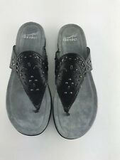 Womens Dansko Benita Black Leather Thong Sandal Size 7.5/38