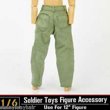 """1/6 Dragon DML Toys Model WWII Soldier Clothes Green Pants Suits 12"""" Figure"""