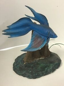 Hand Carved Siamese Fighting Betta Fish By Chris Kight