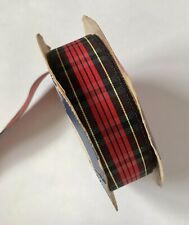 """⭐️Vintage 80s OFFRAY PLAID Ribbon Polyester 5' 6"""" Long. 7/8"""" Wide USA. Red Black"""