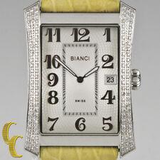 Roberto Bianci Stainless Steel Diamond Women's Watch w/ Leather Band P232