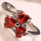 Women 925 Silver Garnet&White Topaz Gemstone Size 6-10 Wedding Bridal Engagement