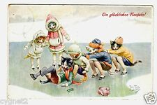 POSTCARD THIELE CATS ICE SKATING T.S.N. SERIES 1472 NEW YEAR GREETING
