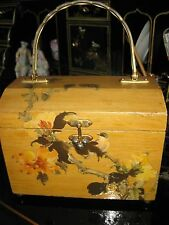 Vintage Handmade 1960's Decoupage Bird in Tree Wood Purse Handbag Box Bag