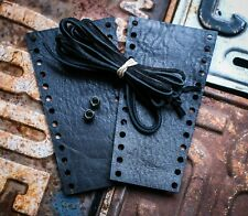Premium Black Distressed Leather Motorcycle Harley & Universal Lever Covers
