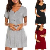 Women Pregnancy Maternity Nursing Summer Casual Solid Short Sleeve Dress Clothes