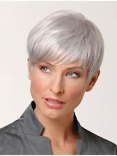 Women Short Silver White Synthetic Natural Straight Hair Cosplay Daily Full Wigs