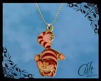 Alice in Wonderland Sterling Silver / faux leather Necklace with Cheshire Cat