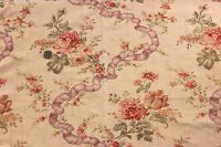 "Antique French Linen HF Pretty Rose & Ribbon Textile Piece c.1890~23""L  X 32""W"