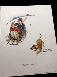"""Print Norman Rockwell 1997 """"Downhill Daring"""" 8"""" X 10"""". Good Condition"""