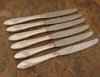 Oneida Queen Bess 6 Dinner Knives Community Tudor Vintage Silverplate Flatware B