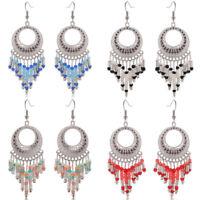 Vintage Silver Plated Seed Beads Chain Earrings Ear Drop DangleFashion Jewelry