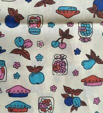 Vintage Quilt Fabric Canned Jars Apple Pie Plum Apricot Pear Grape Jelly 44x2yd