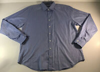 Bugatchi Shaped Fit Shirt Mens XXL Long Sleeve Flip Cuff Pattern Blue Button Up