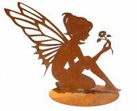 fee blume auf Platte metall edelrost  figur kunstobjekt gartendeko skulptur