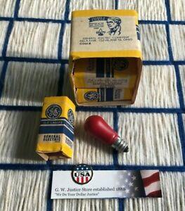 BOX of 6 vintage GE CERAMIC RED NIGHT LIGHT 6S6 indicator BULB C7 Christmas E12