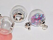 Wide Mouth open Glass Crystal Ball Bottle fairy Locket vial Screw top Globe Orb