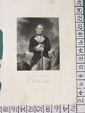 c1840 ANTIQUE PRINT ~ REAR ADMIRAL RICHARD KEMPENFELT