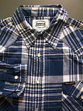 Wrangler Western Checked Shirt Men's Large Blue White Long Sleeved Vtg # LSHz459