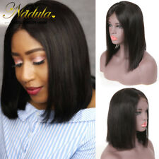 """Indian Lace Front Human Hair Wigs Black Straight Short Bob Full Wig for Women10"""""""