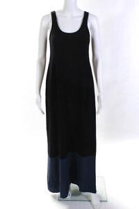 Vince Womens Cotton Sleeveless Maxi Dress Black Blue Size Medium