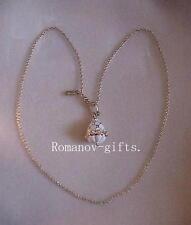 Russian Christmas White Princess Anastasia Egg Pendant Necklace