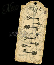 Graphic45 Staples-(8) ORNATE METAL KEYS scrapbooking ANTIQUE Altered Art