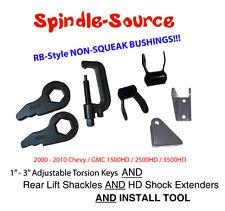 00 - 10 Silverado Sierra 2500 3500 HD Torsion Keys + SHACKLES + TOOL + Extenders