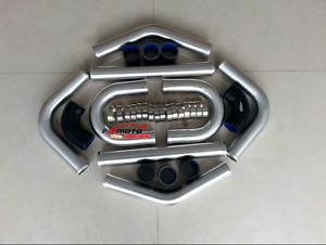 "OD 2.5""inch Aluminum Universal Intercooler Turbo Piping +BLACK Hose+T-Clamp 64mm"