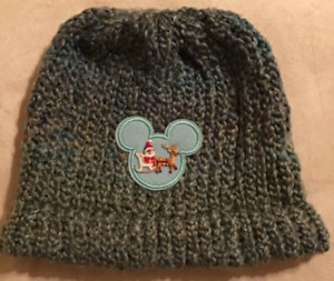 Disney Inspired Mickey Mouse with Santa Claus On Sled Reindeer Green Gray Beanie