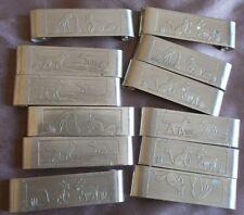 """12 porte-couteaux vintage métal argenté """" Fables de La Fontaine """" Cigogne Loup"""