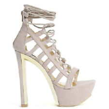 Liliana Taupe Lace up Open toe Chunky Heel Pump Women's Shoes Tanya US sz.7