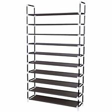 50 Pair 10 Tier Space Saving Storage Organizer Shoes Rack Free Standing Black