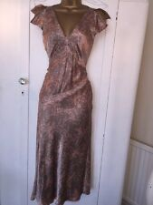 Silk Monsoon Dress 8 Floral Party Cruise Occasion Pink Mink