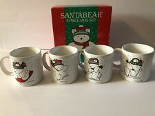 Set of 4 Rare vintage 1986 Dayton-Hudson Santa Bear mugs In Original Box Euc