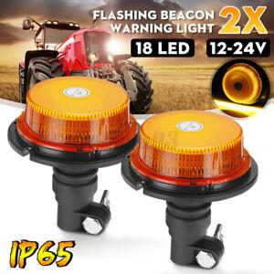 2x LED Flashing Beacon Warning Light DIN Pole Mount Car Tractor Truck Tray UTE