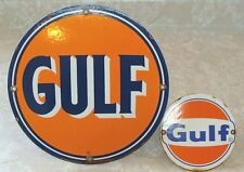 2 VINTAGE GULF GASOLINE PORCELAIN SIGNS PUMP PLATE GAS SERVICE STATION