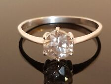 Sterling Silver 925 CZ 0.80ct Solitaire Ring Size Q #205