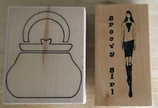 2 x WOOD MOUNTED RUBBER STAMPS CREATIVE STAMPING HANDBAG & ANITA'S GROOVY GIRL