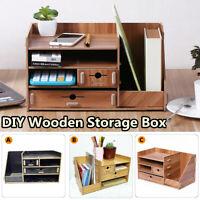 DIY Multilayer Wooden Storage Box Case Home Office Desk Table Organizer Drawer
