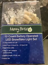 NIB Merry Brite LED Snowfall Clear Battery Operated lights Christmas New 10 Ct