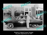 OLD POSTCARD SIZE PHOTO OF MOULTRIE GEORGIA THE POLICE DEPARTMENT CAR 1953