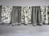 """Single WILLIAMSBUG Black White Country Floral Toile + Gingham VALANCE 120"""" L"""