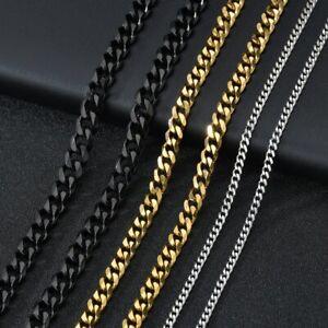 Men's Titanium Stainless Steel Double Curb Edge Cuban Chain Miami Chain Necklace