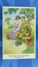 WW1 Donald McGill Military Comic Postcard Soldier Sweetheart WHAT TIME GET DARK