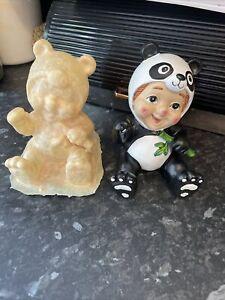 Waving Boy Gnome As Panda Latex rubber Mould mold Garden Gnome Ornament Mould