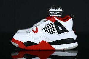 2020 Nike Air Jordan 4 Retro (TD) Fire Red White Black BQ7670 160 Size 8c